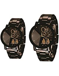 A R Sales Analog Black Dial Couple Watch - CC001