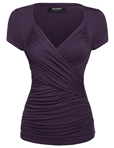 Zeagoo Damen Sexy V-Ausschnitt Kurzarm Tunika Blusen Oberteile Shirt mit Rüschen (EU 44(Herstellergröße:XXL), A-Lila)