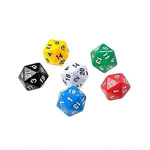6pcs / Set D20 Dados Opacos Veinte Caras Dados Multi Color Gaming Resina Polyhedral (Color Multicolor)