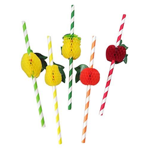 Aisoway 50Pcs / Set Art Und Weise Sortierte Mehrfarbenplastikfrucht Cocktail Strohhalm Grill Hawaiian Party-Thema Dekoration Für Pool-Party-Sommer-Party-Geburtstags-Party