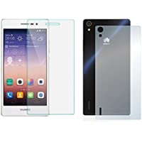 Protector de pantalla Cristal templado para Huawei Ascend P7 Delantero y Trasero Calidad HD, Grosor 0,3mm, Bordes redondeados 2,5D, alta resistencia a golpes 9H. No deja burbujas en la colocación (Incluye instrucciones y soporte en Español)