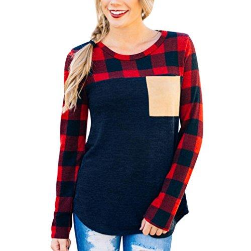 TWIFER Damen Oansatz Langarm Shirt Sweatshirt Pullover Gitter Plaid Bluse (90er Langarm Jahre)
