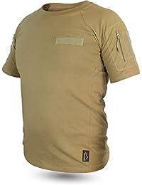 Tactical BDU Kampfshirt T-Shirt mit Klettpatches, Armtaschen & versteckten Seitentaschen