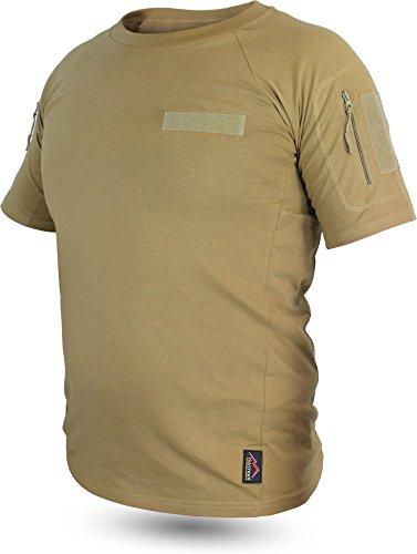 Tactical BDU Kampfshirt T-Shirt mit Klettpatches, Armtaschen & versteckten Seitentaschen Farbe Khaki Größe 6/M (Bdu Khaki)