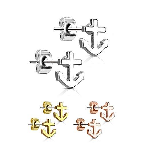 Treuheld® | Ohrstecker mit Anker - Edelstahl Ohrringe für Damen, Kinder und Herren in Silber Gold Rosegold - perfekt für alle Anlässe - Silberne und goldene Stecker - Old School [01.] - Silber