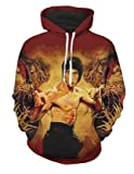WEIYIGE 3D Pullover Print Bruce Lee Langarm-Sweatshirt Mit Kapuze - XL