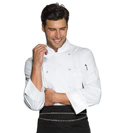 Isacco - Veste Chef Cuisinier Blanche Microfibres Blanc