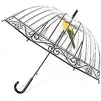 MachinYeser Hombres Mujeres Paraguas Transparente Paraguas Creativo Apolo Largo Pájaro en la Jaula Plástico Transparente para