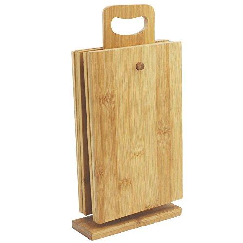 COM-FOUR® 7-teiliges Schneidebrett mit Ständer aus Bambus, 22 x 14 cm, Frühstücksbrettchen Küchenbrett Brotbrett