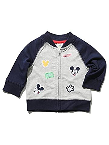 Disney Baby Boy Cotton Rich Navy Grey Long Sleeve Zip