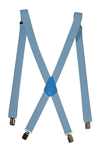 Olata unisex bretelle elastiche 'magro' stile x-forma, 2.5cm larghezza - blu chiaro