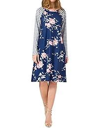 Wenyujh Damen Kleid Langarm Shirtkleid Blumenmuster Streifen Patch Casual  Freizeit 96a499702f