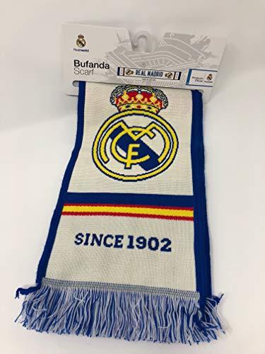 Bufanda Real Madrid - Telar color Blanco / Azul - 'EL MEJOR CLUB DEL MUNDO'. 140 X 20cm