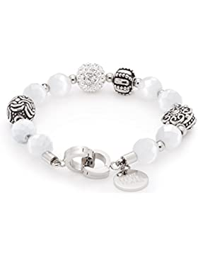 Leonardo Jewels Damen-Armband Darlin's weiß Charisma edelstahl transparent Glas 19,5cm