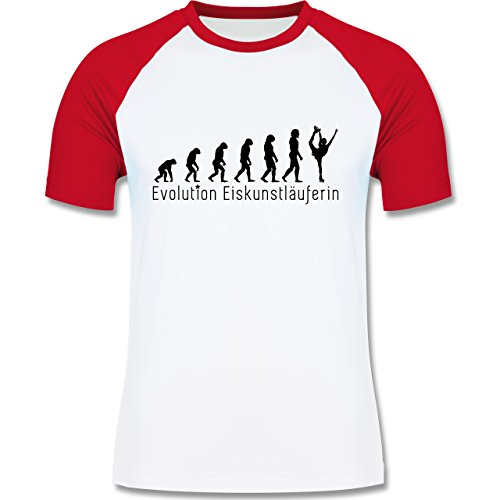Evolution - Eiskunstläuferin Evolution - zweifarbiges Baseballshirt für Männer Weiß/Rot