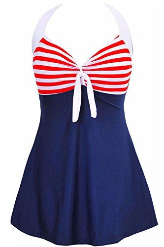 AMAGGIGO Amenxi Damen Kirschen Cherry/Blau-Weiß Einteiliger Spitze Figuroptimizer Sportlich Neckholder Retro Vintage Damen Badeanzug (Red, EU 40-42)