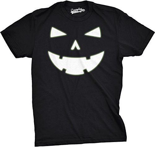 Crazy Dog Tshirts Youth Happy Tooth Glowing Pumpkin Face Tshirt Jack O Lantern Halloween Tee (Black) XL - Jungen - - Nerdy Witze Halloween