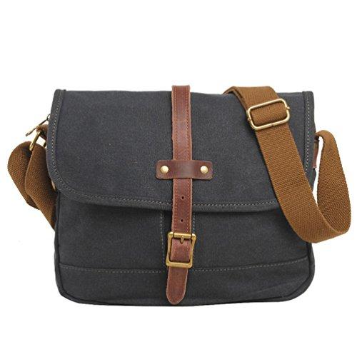 NiSeng Freizeit Canvas Vintage Umhängetasche Täglich Schultasche Messenger Bag für Herren Dunkelgrau