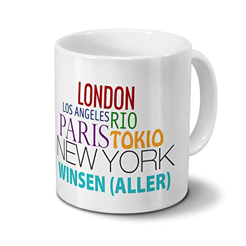 Städtetasse Winsen (Aller) - Design Famous Cities of the World - Stadt-Tasse, Kaffeebecher, City-Mug, Becher, Kaffeetasse - Farbe Weiß
