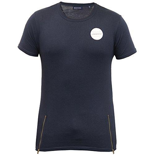 Herren Lange Linie T-shirt Brave Soul Kurzarm Rundhalsausschnitt Reißverschluß Freizeit Sommer Neu Marineblau - 36FALCONE