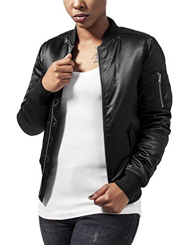 Urban Classics Damen Jacke Ladies Satin Bomber Jacket, Schwarz (Black 7), 42 (Herstellergröße: XL)