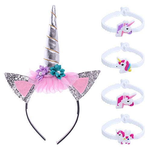 Einhorn Haarreif Stirnband mit Blume Einhorn Armbänder Horn -