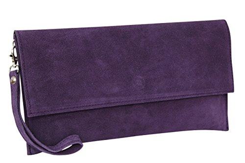 AMBRA Moda Pochette da giorno da donna Borse a mano clutch in vera pelle scamosciata WL811 Viola scuro