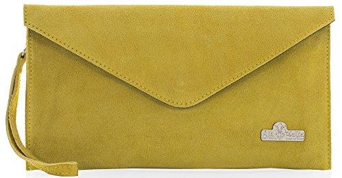 LiaTalia Italienische Wildleder Umschlag Clutch Abendtasche mit Baumwollfutter und Staubschutztasche - Leah Senfgelb