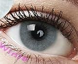 """Farbige Kontaktlinsen 3 Monatslinsen hellgrau grau """"Pony Gray"""" gute Deckkraft ohne Stärke mit Aufbewahrungsbehälter"""