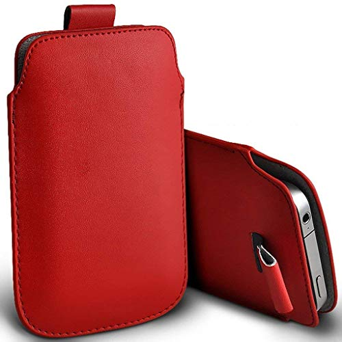 Price comparison product image I-Sonite (Red) Premium Slip In Pull Tab Sleeve Faux Leather Pouch Case Cover For Nokia 3.1 [XXL]
