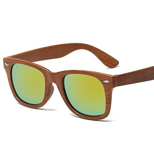 Sunyan Neue Sonnenbrille weiblichen Star Sonnenbrille, Holz, Gold und Quecksilber gerahmt
