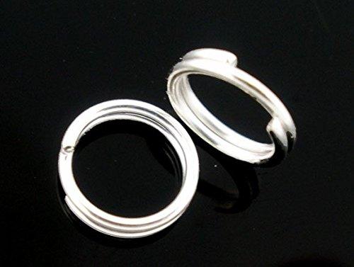 500 x 4 mm en plaqué argent et Double anneaux ouverts de jonction pour la création de bijoux Connect-conclusions et