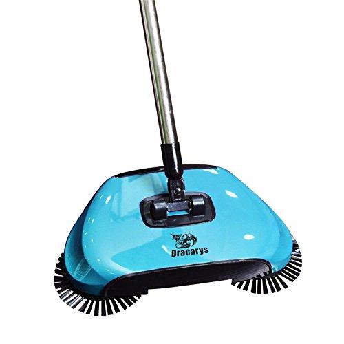 Dracarys Lazy 3 in 1 Haushalts Reinigung Hand Push Automatische Sweeper Besen - inkl. Besen & Kehrschaufel & Mülleimer - Reiniger ohne Strom Umweltfreundliche grün (blau)