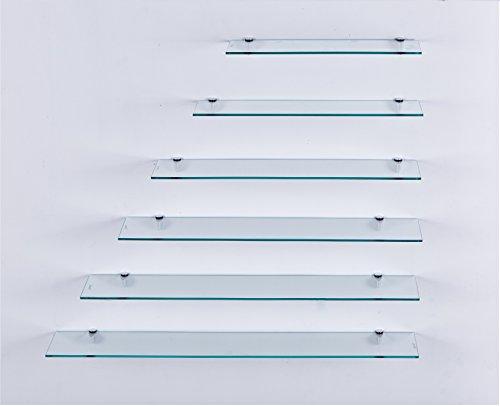 Euro Tische Glas Wandregal Klarglas - Glasregal mit 6mm ESG Sicherheitsglas - perfekt geeignet als Badablage/Glasablage für Badezimmer - Verschiedene Größen (100 cm)