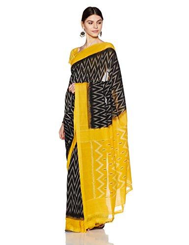 IndusDiva Pochampally Ikat Pure Cotton Handloom Saree (BLR1900008_Black_One Size)