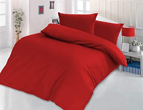 Style Heim 3 TLG. Bettwäsche, Renforcé-Baumwolle, Einfarbig Uni Reißverschuss, 200x220, Rot - Bettbezug Rot