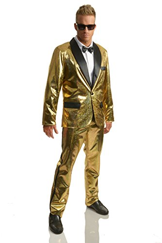 Charades Men's Gold Disco Ball Tuxedo Fancy Dress Kostüm Small (Disco Ball Fancy Dress Kostüm)