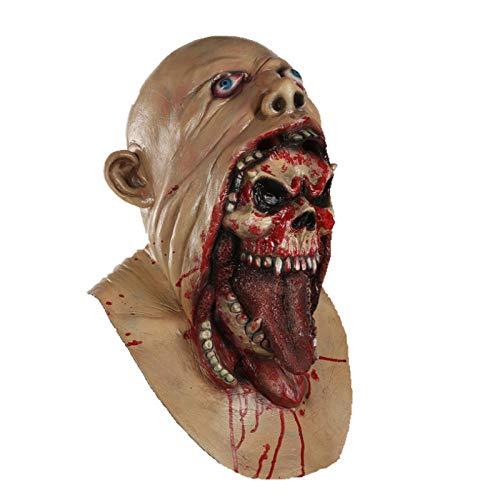 qiaoaoa Scary Blurp Mask Monster Skelett Zombie Kostüm Horror Halloween Latex Erwachsene Vollmaske Cosplay (Zombie Skelett Kostüm)