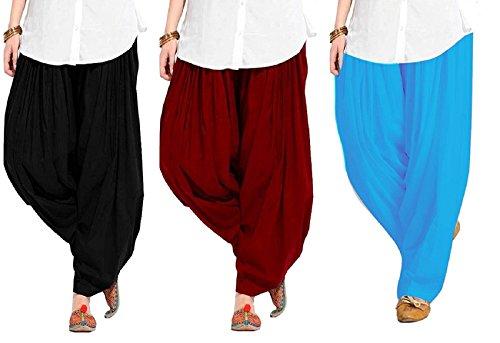 bLACK MACYTraditional Patiala Salwar 100% Cotton Free Size (_Black, Maroon and skyblue)