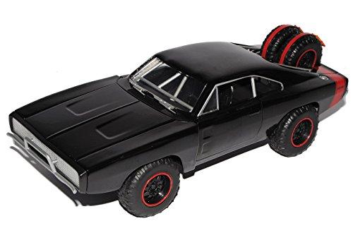 Preisvergleich Produktbild Dodge Charger Off Road R/T Dom´s Muscle Cars Coupe Schwarz Fast and Furious 7 1970 1/24 Jada Modell Auto mit individiuellem Wunschkennzeichen