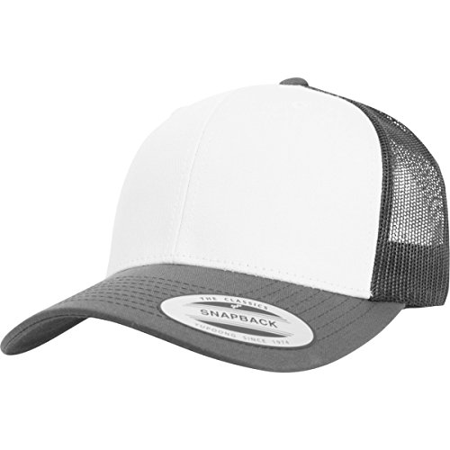 Flexfit Retro Trucker Colored Front Kappe, Darkgrey/White, One size