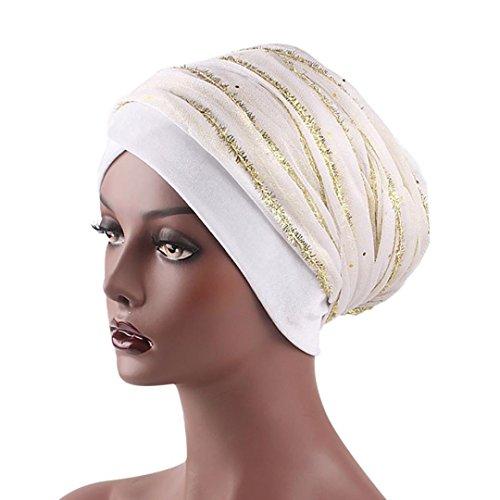Mitlfuny Unisex Damen Stretch Blume Muslime Kopftuch Kopf Schal Hut Ethnisch Aufdruck Turban Kopfbedeckung Kappe FüR Krebs (Weiß)