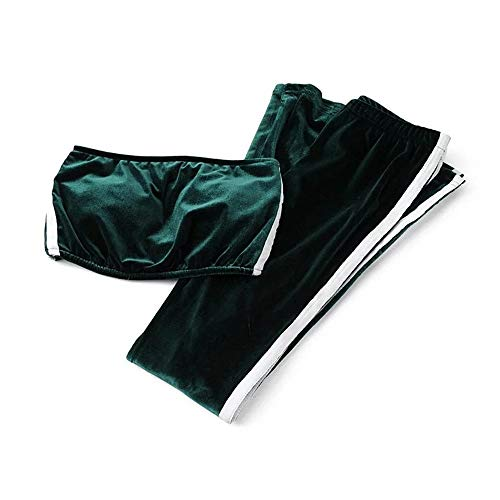 Asdflina Frauen einfarbig Tube Top Yoga Trainingsanzug Gold Samt Glocke Hosen Sportswear nackten Bauchnabel Nachtclub Hosenanzug Sportswear Anzug Set Atmungsaktiv (Farbe : Grün, Größe : M) Green Velvet Top Hat
