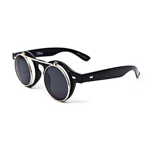 Männlich Punk Kostüm (Ultra® Black Frame Black LensesFlip, Kreis Steampunk hochwertige Schutzbrille Brille Retro Runde Cyber UV400)