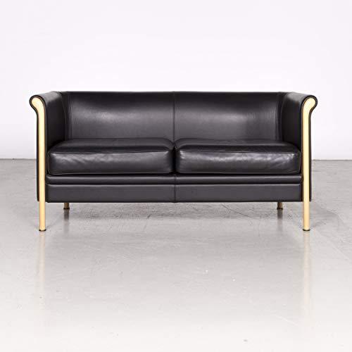 Moroso Designer Leder Sofa Schwarz Echtleder Zweisitzer Couch #7432