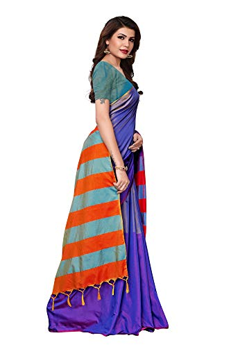 Indian Women's Cotton Silk Style Sari with Blouse Piece MIRZAPUR Blue