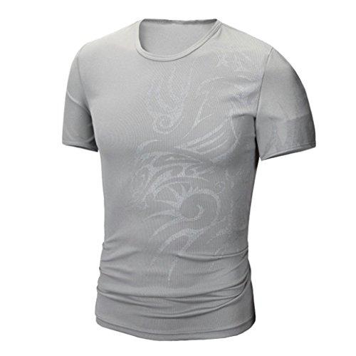 Preisvergleich Produktbild Herren Bluse,feiXIANG Herren Sommer Mode Drucken Kurzarm T-shirt (M, Grau)
