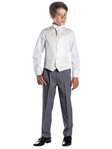 Paisley of London, Kostüm Weste Jungen, Seite Jungen Outfits, Gestreift, Hose grau, 3-6Monate-14Jahre Gr. 10 Jahre, elfenbeinfarben (Kostüm Avec Gilet)
