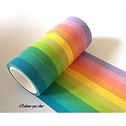Lot de 10 rubans Masking-tape coloris unis