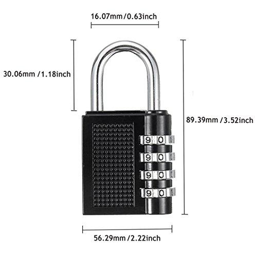 2xCandado de Seguridad  GOCHANGE 4 Dígitos Combinación Candados para Taquillas del Gimnasio Maleta de Equipaje  Herramientas  Equipaje Casillero Archivadores etc
